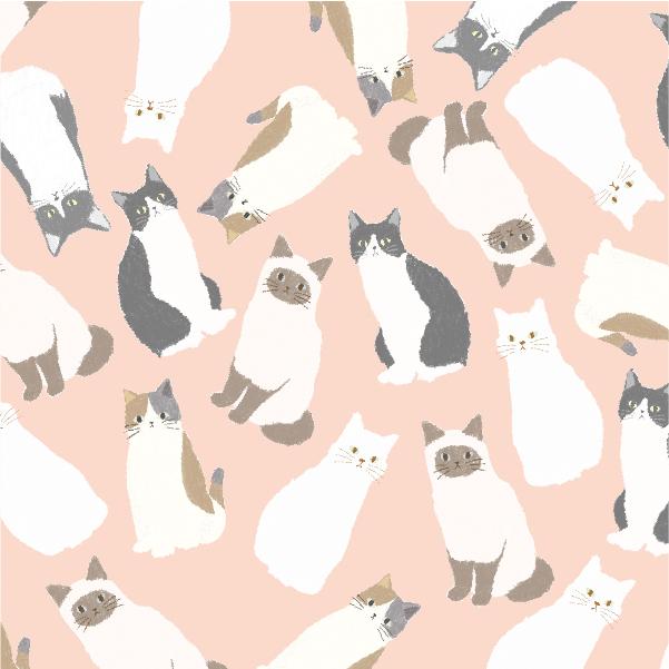 猫のテキスタイルデザインの制作実績